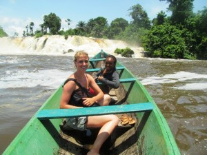 "Visiting ""La Lobe"" waterfall by canoe is alway a good experience and people come back with wide smile like Linda."